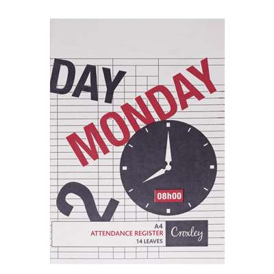 Daily Attendance Register A4, 14 Pages, JD283