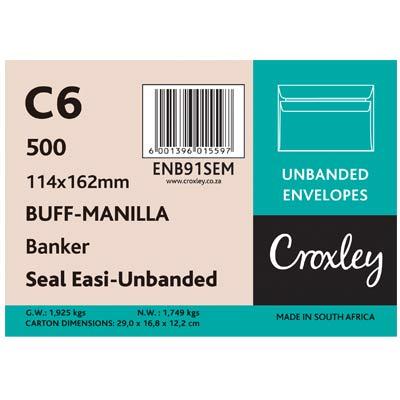 Envelopes Seal Easi 114x162mm, Manilla C6, (ENB91SEM)