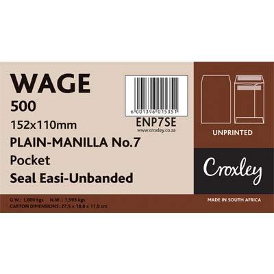 Envelopes Wage 110x152mm, Manilla Unprinted, (ENP7SE)