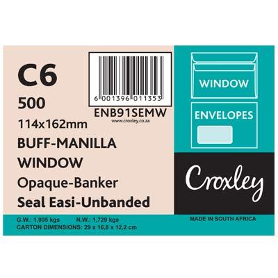 Envelopes Window Seal Easi, Manilla C6, (ENB91SEMW)