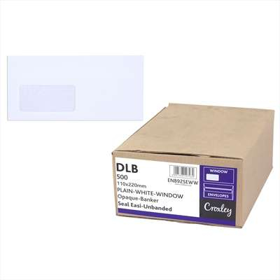 Envelopes Window Self Seal, White DLB, (ENB92SEWW)
