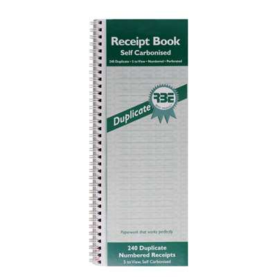 Cash Receipt Book RBE, NCR Dupl. 5 to view FO201