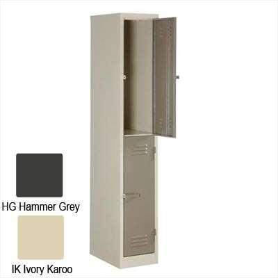 2 Compartment Locker Solid 1800Hx300Wx450D (Hammer Grey)