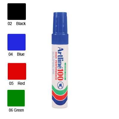 Artline 100 Marker, Permanent Ink, Broad Chisel Point (Red)