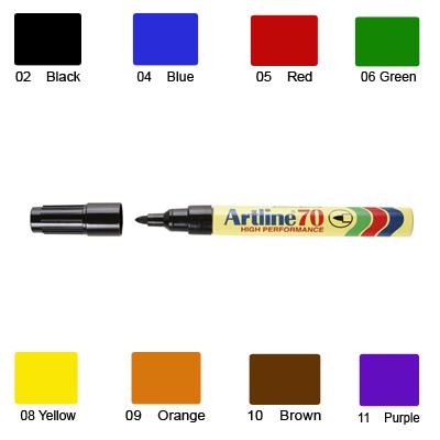 Artline 70 Marker, Permanent Ink, Bullet Point (Red)