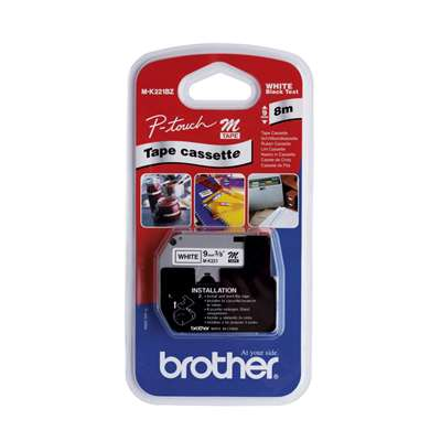 Brother Label Tape P-Touch 9mmx8m MK221BZ Blk&Wht