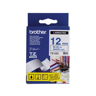 Brother Label Tape P-Touch 12mm x 8m Blue&White TZ233