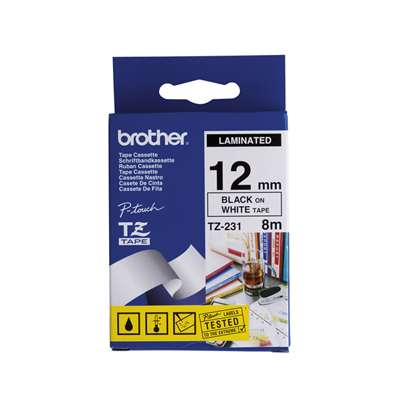 Brother Label Tape P-Touch TZe231 12mm x 8 m Black on white