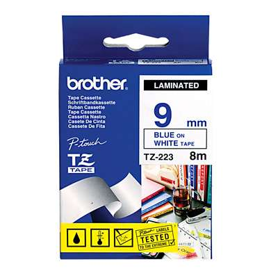Brother Label Tape P-Touch 9mm x 8 m Blue&White TZ223