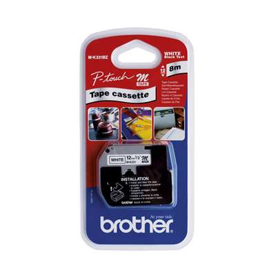 Brother Label Tape P-Touch 12mm MK231BZ PT55 Blk&Wht
