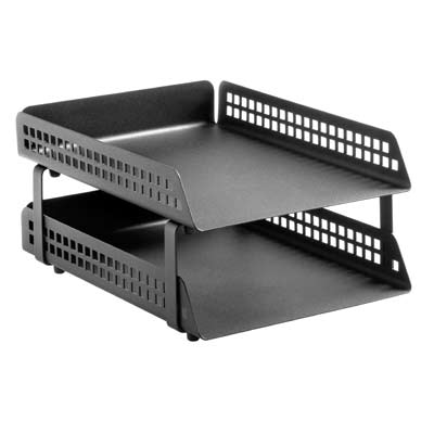 Perforated Square Punch 2 Tier Letter Tray (Krost Black)