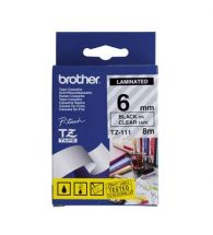 Brother TZe-111 Laminated Tape - 6mm Black on Clear (8m)