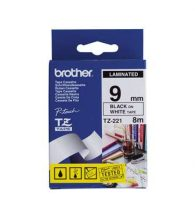 Brother TZe-221 Laminated Tape - 9mm Black on White (8m)