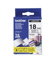Brother TZe-241 Laminated Tape - 18mm Black on White (8m)
