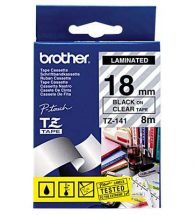 Brother Label Tape TZe-141 Black on Clear 18mmx8m